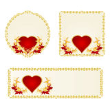 Banner and buttons Valentines day heart with ornaments vector Stock Photo
