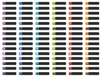 Banner buttons with web icons. Complete set of colorful banner buttons with 3D web icons Royalty Free Stock Photo