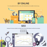 Banner - buying online and SEO optimization Stock Photography