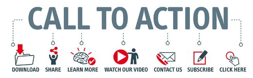 Set of icons - call to action royalty free illustration
