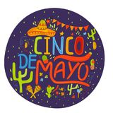 Banner or card for Cinco de Mayo celebration. Holiday poster wit. H hand drawn calligraphy lettering, sombrero, cactus, chilli, tequila and maracas. Vector vector illustration