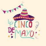 Banner or card for Cinco de Mayo celebration. Holiday poster with hand drawn calligraphy lettering, sombrero, cactus. Vector Mexican fiesta Royalty Free Stock Photos