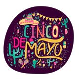 Banner or card for Cinco de Mayo celebration. Holiday poster wit. H hand drawn calligraphy lettering, sombrero, cactus, chilli, tequila and maracas. Vector stock illustration