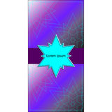 Banner or card with cyan star in center and thin stars on violet. Bright postcard for congratulations or your design Stock Photo