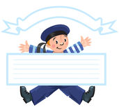 Banner or card with happy sailor Stock Photography