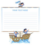 Banner or card with happy sailors on a sailboat Royalty Free Stock Images