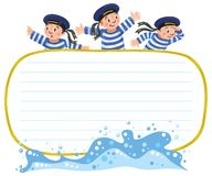 Banner or card with happy sailors Royalty Free Stock Photo