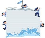 Banner or card with happy sailors Royalty Free Stock Image