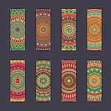 Banner card set with floral colorful decorative mandala elements background. Tribal,ethnic,Indian, Islam, Arabic, ottoman motifs Stock Photos