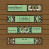 Banner card set with floral colorful decorative mandala elements background. Stock Photography
