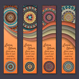 Banner card set with floral colorful decorative mandala elements background. Stock Image