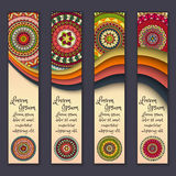 Banner card set with floral colorful decorative mandala elements background. Royalty Free Stock Photos