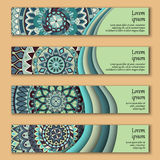 Banner card set with floral colorful decorative mandala elements background. Royalty Free Stock Photo