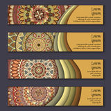 Banner card set with floral colorful decorative mandala elements background. Royalty Free Stock Images