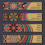 Banner card set with floral colorful decorative mandala elements background. Royalty Free Stock Image