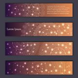 Banner card set with floral glowing decorative mandala elements background. Tribal,ethnic,Indian, Islam, Arabic, ottoman motifs.  Stock Photo