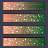 Banner card set with floral glowing decorative mandala elements background. Tribal,ethnic,Indian, Islam, Arabic, ottoman motifs.  Stock Photos