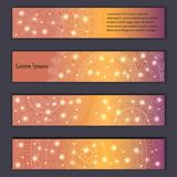 Banner card set with floral glowing decorative mandala elements background. Tribal,ethnic,Indian, Islam, Arabic, ottoman motifs.  Stock Photography