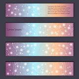 Banner card set with floral glowing decorative mandala elements background. Tribal,ethnic,Indian, Islam, Arabic, ottoman motifs.  Royalty Free Stock Photo