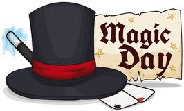 Magic Top Hat, Cards, Scroll and Wand for Magic Day, Vector Illustration. Banner with cards for tricks, magic wand and greeting message in scroll for Magic Day Stock Images