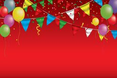 Banner for Carnival.Happy Birthday typography vector design for greeting cards and poster with balloon, confetti, design. Template for celebration. EPS 10 royalty free illustration