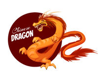 Banner with cartoon Chinese dragon. Vector Royalty Free Stock Image