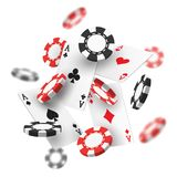 Banner for casino with realistic red, black chips. Banner for casino with flying chips. Realistic or 3d gambling red and black money for las vegas or monaco royalty free illustration