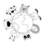 Banner with cat, dog, panda, bear, hippo, rabbit and hedgehog. World animal day. Doodle style. Vector illustration vector illustration