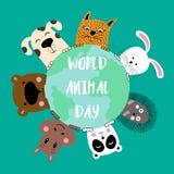 Banner with cat, dog, panda, bear, hippo, rabbit and hedgehog. World animal day. Vector illustration vector illustration
