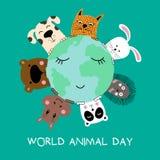 Banner with cat, dog, panda, bear, hippo, rabbit and hedgehog. World animal day. Vector illustration royalty free illustration