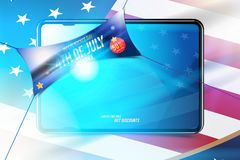 Banner Celebrate Happy 4th of July - Independence Day. Mega sale 50 off with tablet and USA flag. National American holiday event. Flat Vector illustration vector illustration