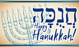 Banner with Chanukiah in Hand Drawn Style for Hanukkah Celebration, Vector Illustration Stock Photography