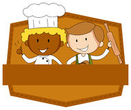 Banner and chef Stock Photography