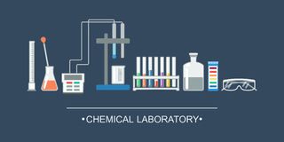 Banner chemical objects. Chemical laboratory equipment, ion electrode.. Illustration Royalty Free Stock Images