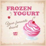 Banner with  cherry frozen yogurt Stock Images