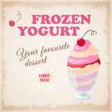 Banner with  cherry frozen yogurt Royalty Free Stock Images