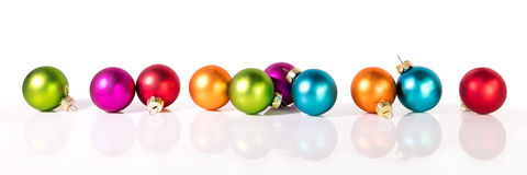 Banner with christmas balls. In front of a white background Stock Photos