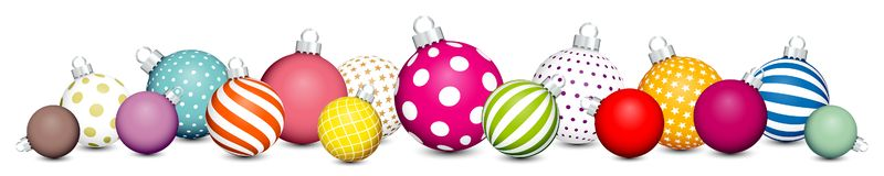 Banner Christmas Balls Pattern Color White Silver vector illustration