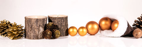 Banner with christmas decoration Stock Images