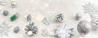 Banner Christmas festive arrangement of decorative elements. Stock Photos