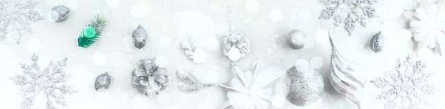 Banner Christmas festive arrangement of decorative elements. The view from the top. Flat lay Royalty Free Stock Photo