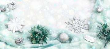 Banner Christmas festive arrangement of decorative elements. The view from the top. Flat lay Royalty Free Stock Photos