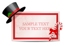 Banner with a Christmas hat and a Christmas sugar Royalty Free Stock Images
