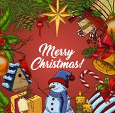 Banner for christmas and 2018 new year. Greeting card for 2018 new year and christmas or xmas, x-mas celebration with candy stick and bell, snowman and bubble or Stock Photos