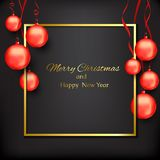 Banner with christmas with red christmas balls on a black background. Stock Photo