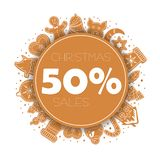 Banner Christmas sale with gingerbread cookies vector illustration