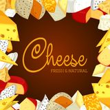 Sign or banner with sliced porous cheese. Banner for chunk of cheese with holes. Badge or sign for vegetarian or vegan nutrition. Insignia for natural and Stock Photos
