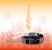 Banner cigarette - danger of fire Stock Images