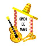 Banner Cinco de Mayo with guitar and sombrero. Postcard Cinco de Mayo with guitar and sombrero. Vector colored illustration vector illustration