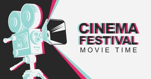 Banner for cinema festival with old movie camera royalty free illustration